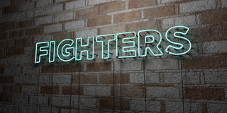 FIGHTERS - Glowing Neon Sign on stonework wall - 3D rendered royalty free stock illustration. Can be used for online banner ads and direct mailers Stock Photography