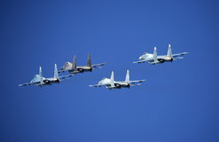 Fighters. Joint maneuvering Royalty Free Stock Photos