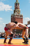 The fighters are locked in Mongolian wrestling Royalty Free Stock Images