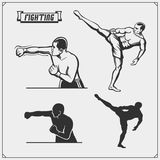 Fighters of martial mixed arts. Vector illustration Stock Image