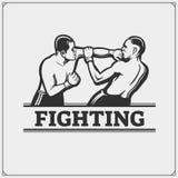 Fighters of martial mixed arts. Sport club emblem. Vector illustration Stock Images