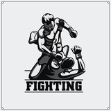 Fighters of martial mixed arts. Sport club emblem. Vector illustration. Royalty Free Stock Images