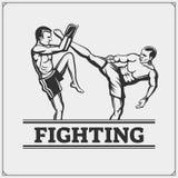 Fighters of martial mixed arts. Sport club emblem. Vector illustration Stock Photo