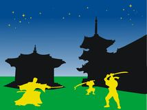 Fighters in the night. Abstract colored illustration with samurai warriors fighting Royalty Free Stock Image