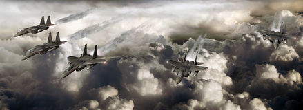 Fighters patrol stock illustration