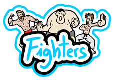 Fighters people. Creative design of fighters draw Royalty Free Stock Photos