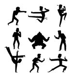 Fighters people vector set. Fighters people muay thai boxing karate taekwondo wrestling kick punch grab throw people icon. Athlete training martial boxing Stock Photography