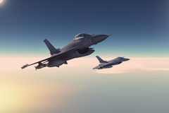 Fighters. Plan in combat mission Royalty Free Stock Image