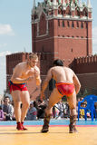 The fighters are ready to Mongolian wrestling Royalty Free Stock Images