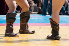 The fighters are ready to Mongolian wrestling. Royalty Free Stock Photography