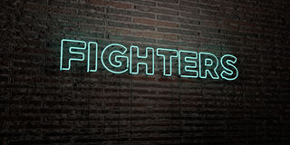 FIGHTERS -Realistic Neon Sign on Brick Wall background - 3D rendered royalty free stock image. Can be used for online banner ads and direct mailers Royalty Free Stock Image