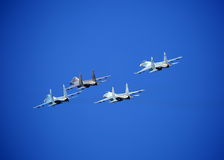 Fighters. Rhombus formation stock photo