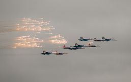 Fighters saluting in the skies Royalty Free Stock Photography