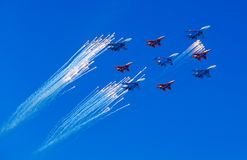 Fighters in the sky. Moscow victory parade 2013, fighters in the sky Royalty Free Stock Images