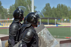 Fighters of the special police units armed with special facilities Royalty Free Stock Photo