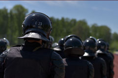 Fighters of the special police units armed with special facilities Royalty Free Stock Images