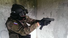 Fighters of the special squad rapid response stock photo