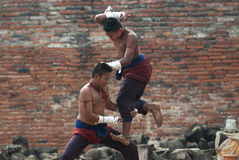 Fighters Take Part In An Outdoor Muay Boran. Royalty Free Stock Image
