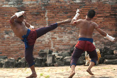 Fighters take part in an outdoor Muay Boran. Stock Photo