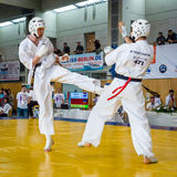 Fighters on the tatami. Royalty Free Stock Photo