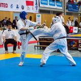 Fighters on the tatami. Stock Photo