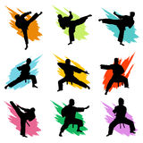 Fighting. Set of fighting silhouette vector Royalty Free Stock Photography
