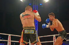 Fighting. Ionut Atodiresei (Romania) vs. Diogo Neves (Portugal) – Wako Pro world title at Superkombat Final Elimination, october 15, Piatra Neamt stock image