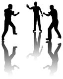 Fighting. Silhouette of two guy fighting and one try to stop pose or this is boxing Stock Image