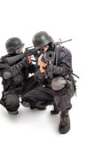 Fighting. Shot of a soldier holding gun. Uniform conforms to special services Stock Photography