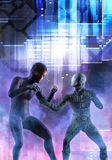 Fighting aliens. 3D render science fiction illustration Royalty Free Stock Photography