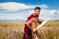 Fighting ancient warrior in landscape background. Portrait of ancient shirtless warrior with sword and red cloak. Spartan Soldier. Landscape background Royalty Free Stock Images