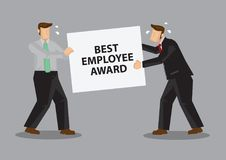 Fighting for Best Employee Award Cartoon Vector Illustration Stock Photo