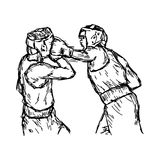 Fighting boxers with boxing head guard - vector illustration. Fighting boxers with boxing head guard - vector illustration sketch hand drawn with black lines Royalty Free Stock Photo
