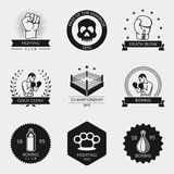 Fighting and boxing black logo set. Fighting and boxing black vector logo and emblem set. Fight emblem, skull and ring, glove and brass knuckles illustration Stock Photos