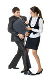 Fighting for a briefcase Royalty Free Stock Photography