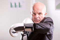 Fighting business man upright and ready Royalty Free Stock Photos