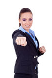 Fighting business woman Royalty Free Stock Photos