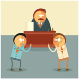 Fighting of businessmen for their boss. Vector image of the Fighting of businessmen for their boss Royalty Free Stock Photo
