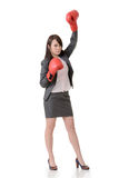 Fighting businesswoman with glove Stock Images
