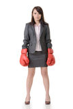 Fighting businesswoman with glove Stock Image