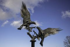 Fighting Buzzards. Malvern`s new public sculpture of a pair of buzzards was unveiled in March 2013. Peter Smith, founder of the Autumn in Malvern festival Stock Photo