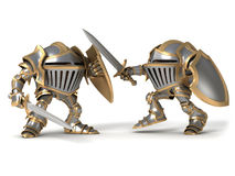 Fighting Cartoon knight. Cartoon knight gnome. The isolated image on a white background Royalty Free Stock Images