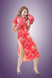 Fighting Chinese woman Royalty Free Stock Image