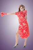 Fighting Chinese woman Stock Photography