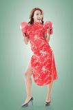 Fighting Chinese woman Royalty Free Stock Photography