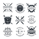 Fighting club. Battle show vector logo emblem. Fighting club. Try your hand Stock Photos