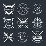 Fighting club. Battle show vector logo emblem. Fighting club. Try your hand Royalty Free Stock Photos