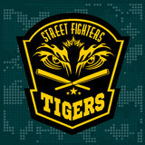 Fighting club emblem - tiger Eye. Labels, badges Royalty Free Stock Photography
