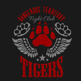 Fighting club emblem - tiger footprint and wings. Labels, badges, logos. Monochrome graphic style Royalty Free Stock Photography