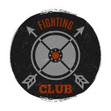 Fighting club label with vintage grunge effect. Arrow cross, vector illustration Stock Photos